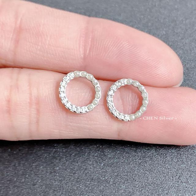 #純銀耳環 珍珠半圓鋯石925耳針(C20109)#正生純銀