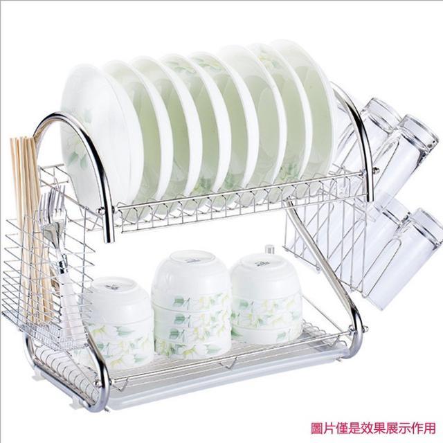 S型雙層瀝水碗架   廚房用品多功能現貨