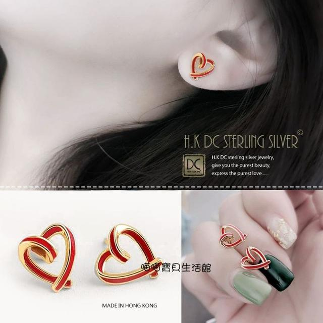 <韓系風格立體厚銀>扭轉愛心型設計款耳環