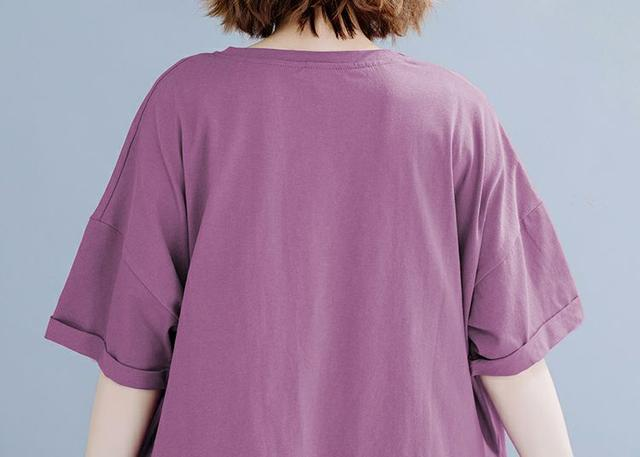 S076-大碼胖MM 休閒寬鬆T恤五分褲兩件套裝