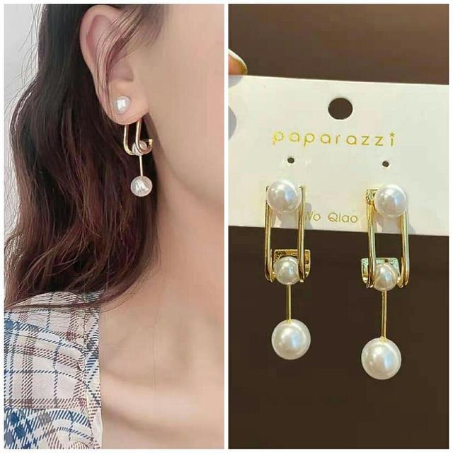 預購銀針方塊珍珠耳環