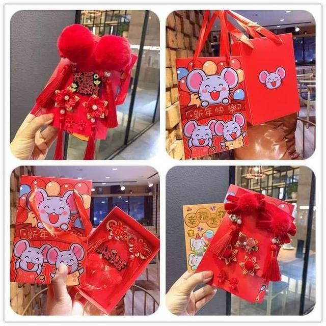 (預購e) 中國風新年兒童招財髮飾禮盒