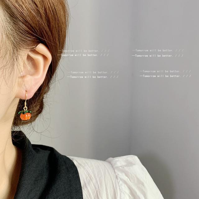 柿柿如意清新甜美925銀針耳環日韓可愛少女心水果森系玻璃耳飾IG