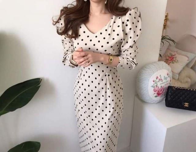 【預購🇰🇷韓國】波點泡泡袖洋裝