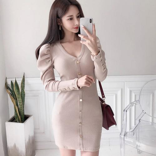 11 S-XL V領修身排扣針織包臀連衣裙(2色)