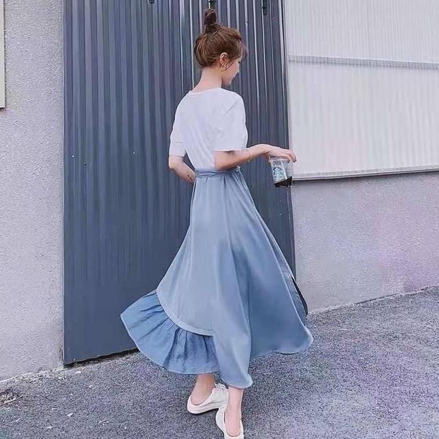#法式復古超美假兩件拼接長洋裝(附綁帶)