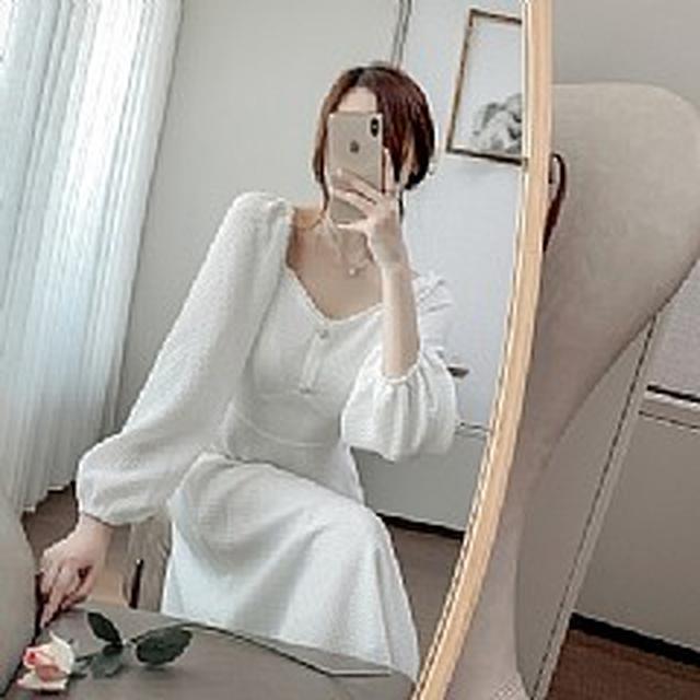 SM5603春裝新款 法式V領純色泡泡袖連衣裙(2色)