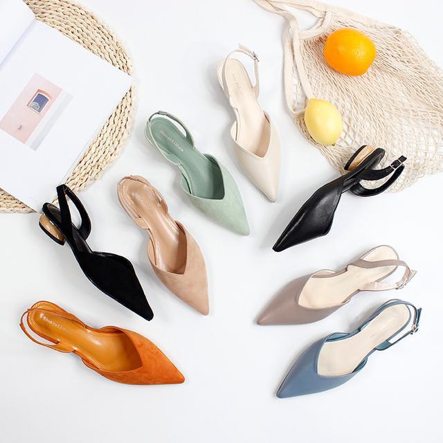 (預購)韓國甜美優雅氣質顯瘦尖頭淺口绒面後空中跟單鞋