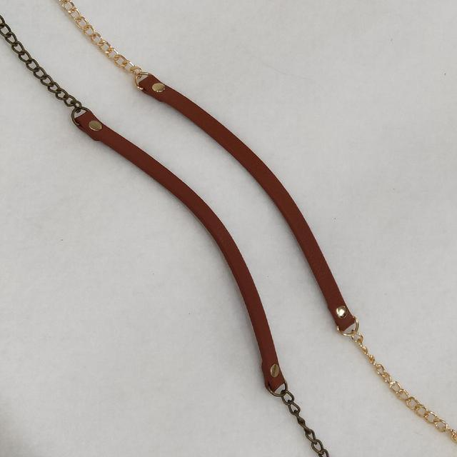 120cm金屬鏈子帶皮革 口金材料 鏈帶 鏈條 古銅 淺金 背包配件 手作材料 飾品