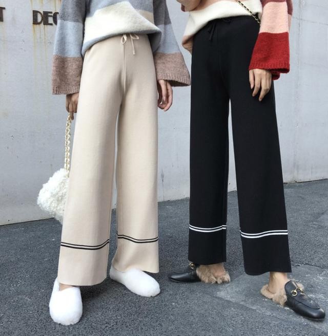 B 12/11 慵懶風寬鬆高腰針織闊腿褲 (2色)