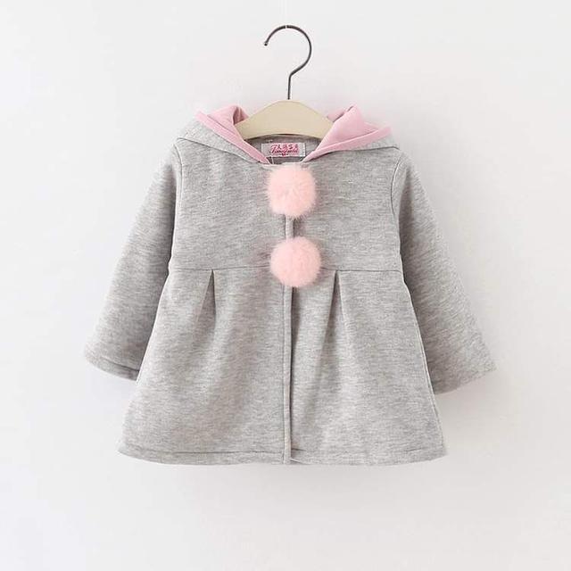 【預購】可愛兔耳毛球外套