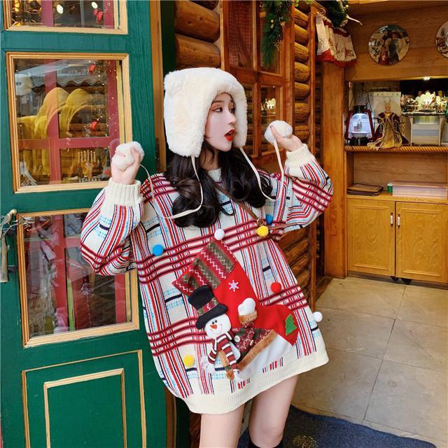 A 12/4 寬鬆格子聖誕針織毛衣(2色)