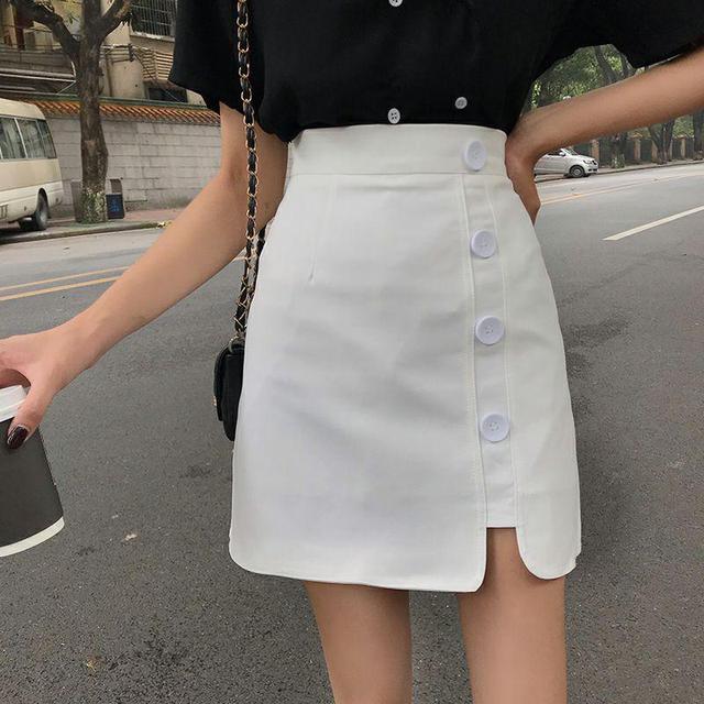 A字不對稱褲裙