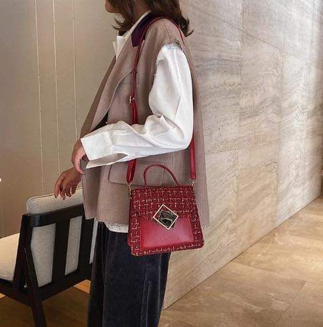 (預購S) 韓國小香風格紋布造型方釦手提小方包