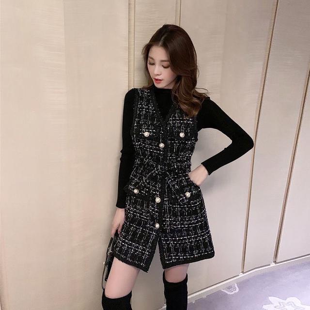 秋冬新款小香風馬甲兩件套針織毛衣毛呢收腰連衣裙套裝氣質套裝裙