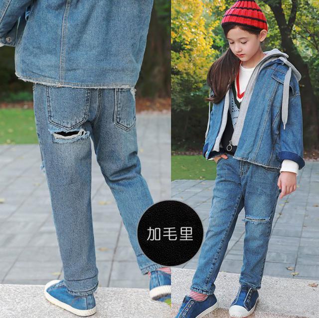 11 7-21 童裝 復古加厚加絨純棉牛仔褲 親子裝 9525
