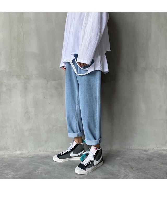 港風褲子男寬松學生韓版直筒牛仔褲男九分褲潮流百搭闊腿男褲春季