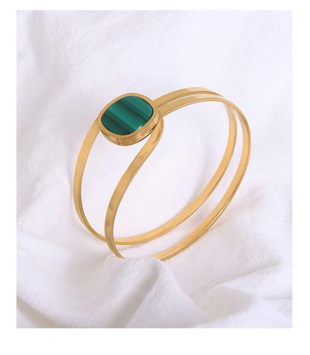 歐美IG幾何元素祖母綠條紋亞克力手鐲鈦鋼鍍18金祖母綠手環飾品