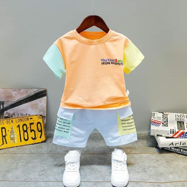 【預購】男童韓版拼接色套裝