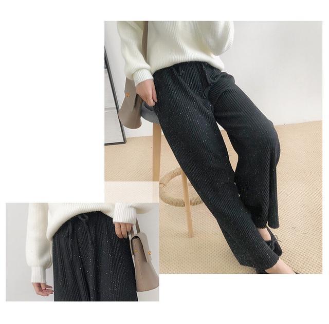 鬆緊針織闊腿直筒褲