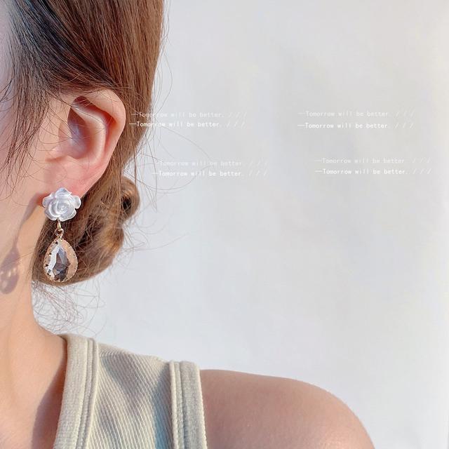 復古珠光玫瑰玻璃水晶吊墜耳環 女少女氣質時尚優雅耳釘耳飾