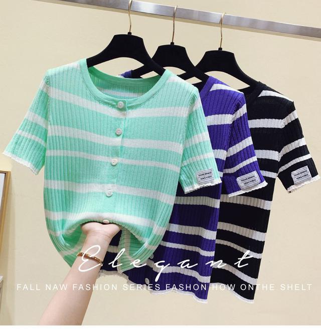 35254  鏤空冰絲短袖針織衫