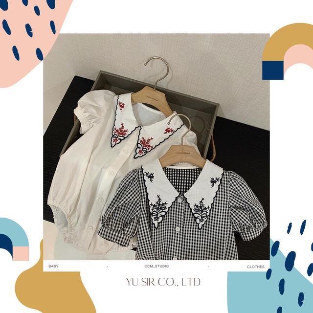 短袖刺繡領女寶襯衫造型包屁衣 寶寶夏季襯衫 包屁衣