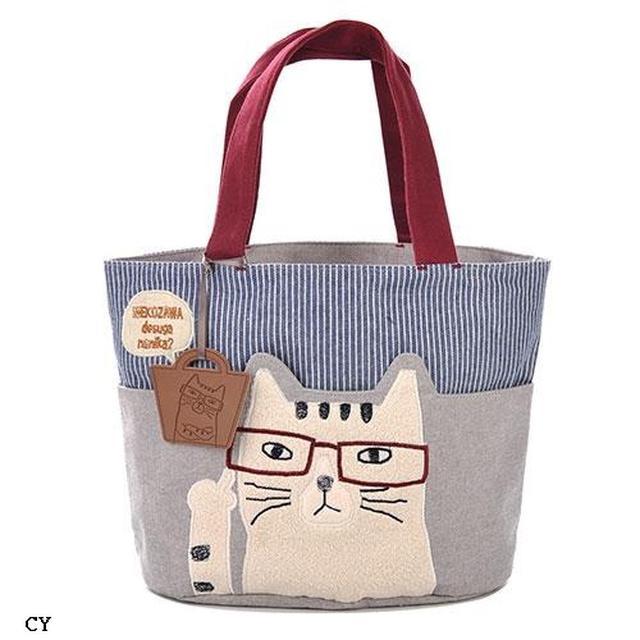 日本🇯🇵 眼鏡貓 直紋牛仔雙色水桶包