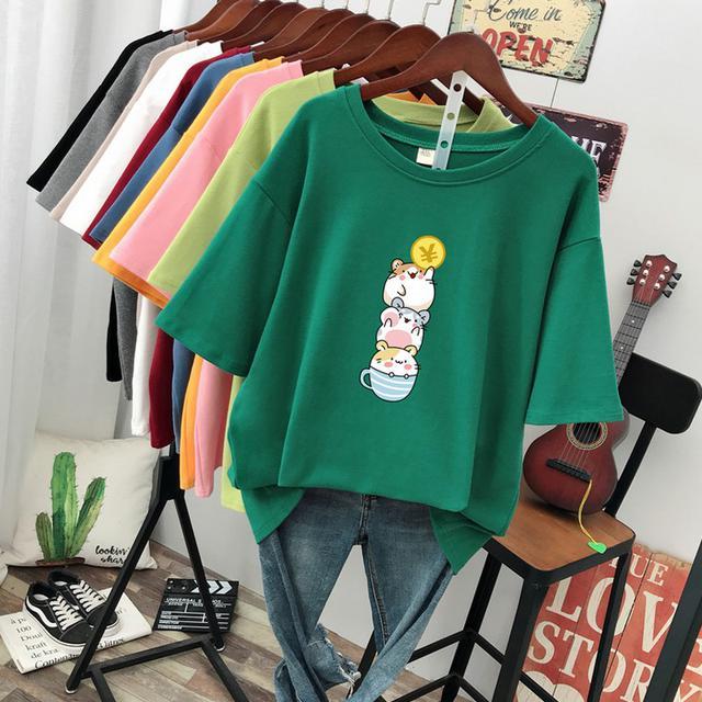 (預購)短袖t恤女韩版寬鬆顯瘦洋氣遮肚純棉体恤上衣