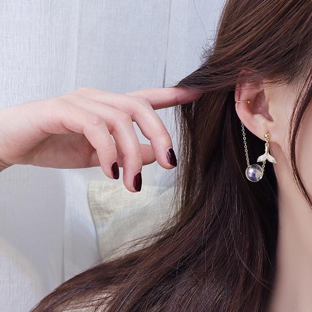 ❣️ 正韓S925 純銀閃鑽魚尾玻璃球耳骨夾耳環   耳針 韓式❣️