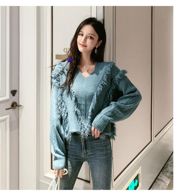 09 寬鬆流蘇小清新V領針織衫(四色) 1869126