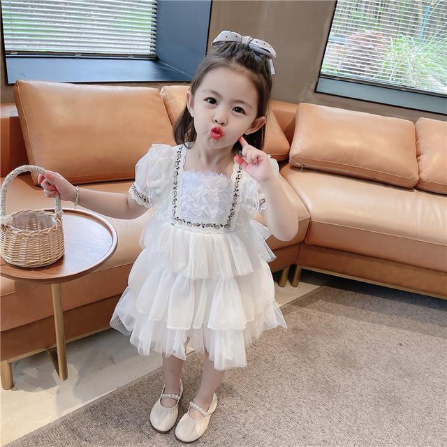女童裙子夏季網纱蓬蓬蛋糕裙連衣裙(貝)