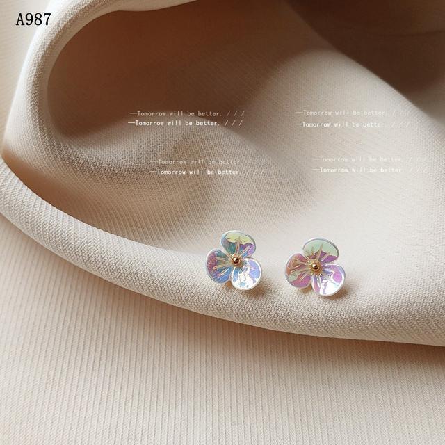 日韓小清新鐳射色花朵耳釘女日系甜美簡約銀針氣質耳飾 耳環