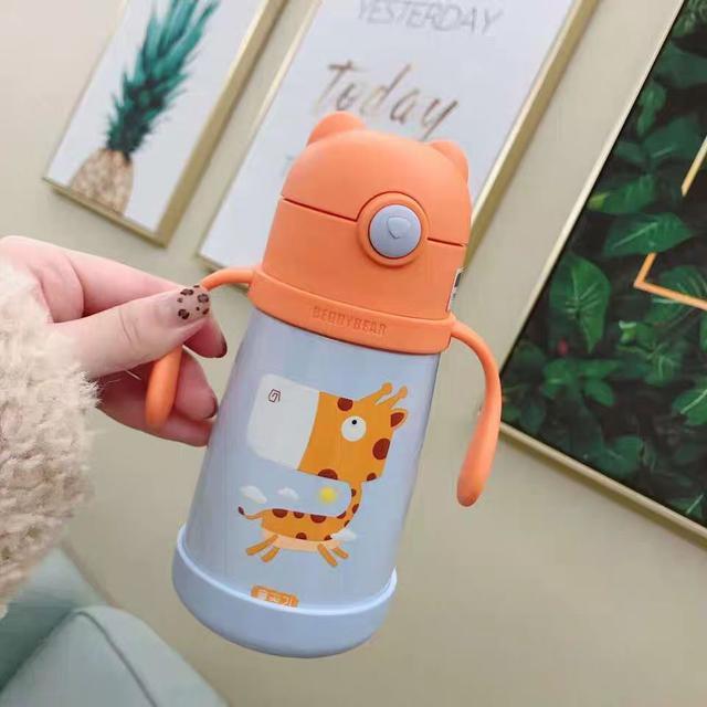 韩国杯具熊儿童保温杯带吸管便携宝宝防摔水壶LSJ19092605