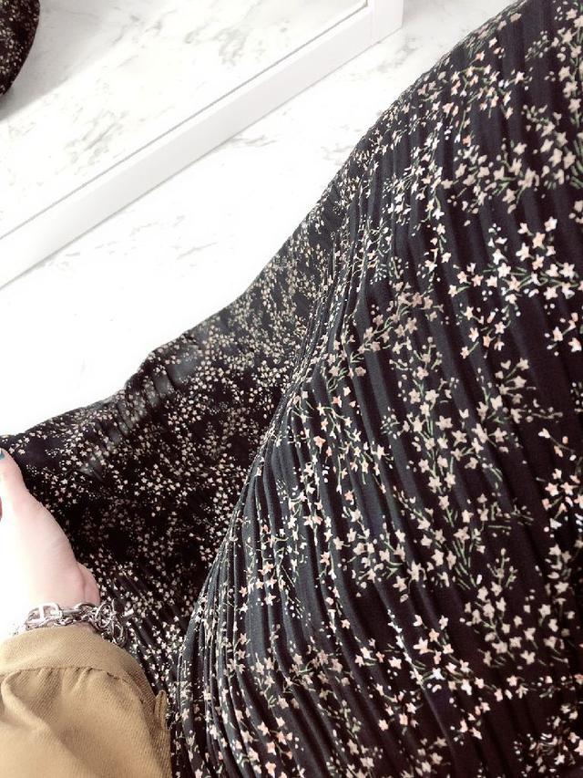 優雅碎花鬆緊紡料百摺裙