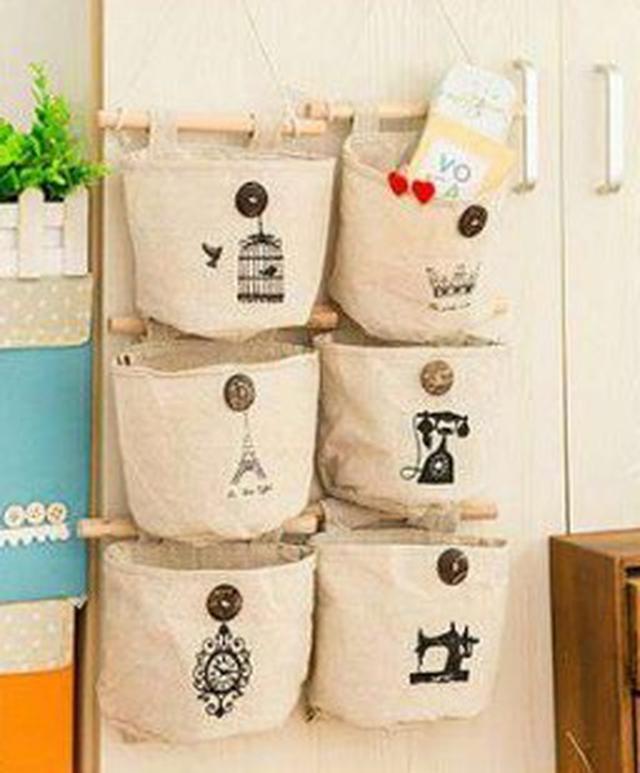 【預購】棉麻懷舊布藝壁掛收納袋