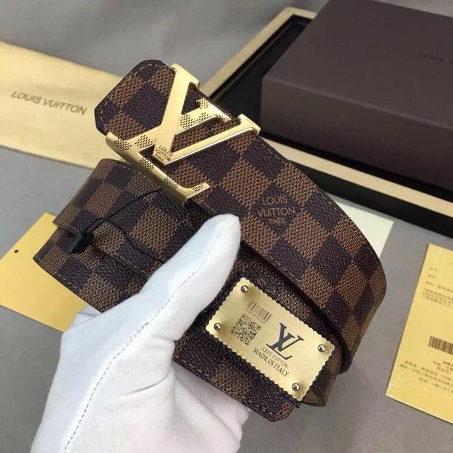LV.易路威登意大利进口原版牛皮🐂,原版皮✨钢扣皮帶4.0宽📣