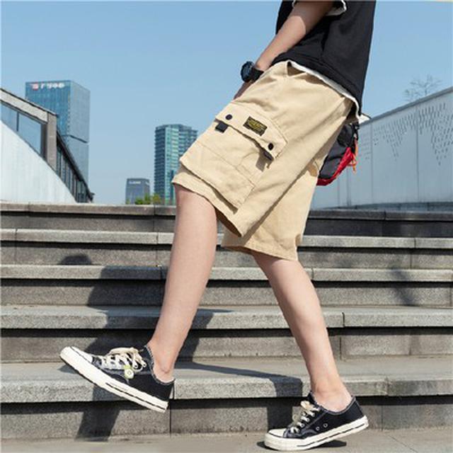 M~5XL 優質純棉休閒大口袋運動沙灘中褲(3色)