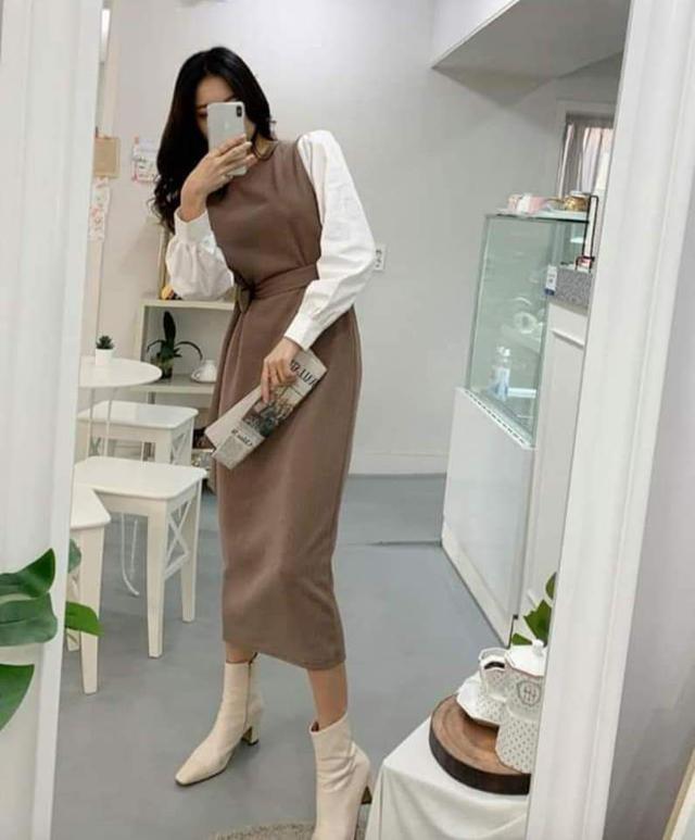 【預購🇰🇷韓國】假兩件縮腰長洋裝