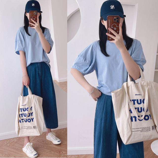洋氣韓版設計花苞泡泡袖纯色品質纯棉T恤(H)