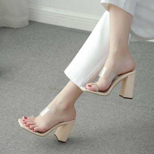 25152 # 透明PVC金屬鏈條粗跟涼拖鞋