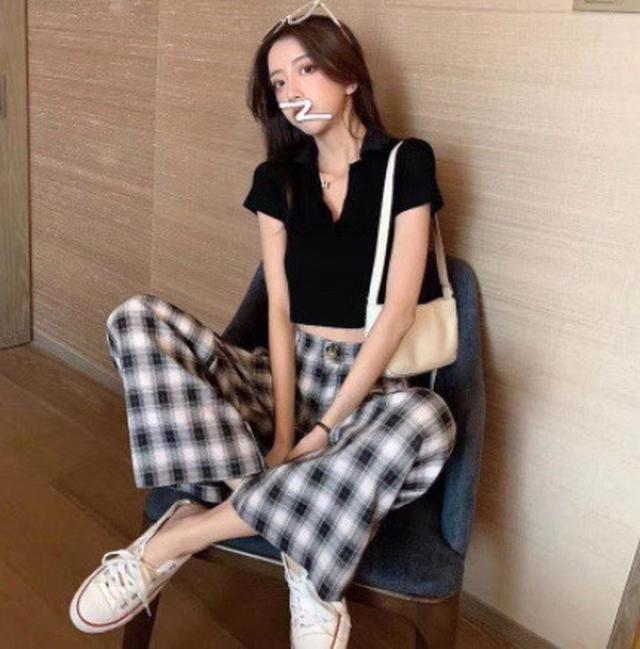 尺碼ML 货号7612#,夏装新款韩国原单polo领针织上衣➕格子休闲裤