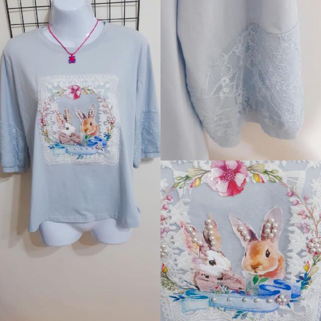 #蕾絲兔兔#浪漫系列#薄衣服#圓領長T