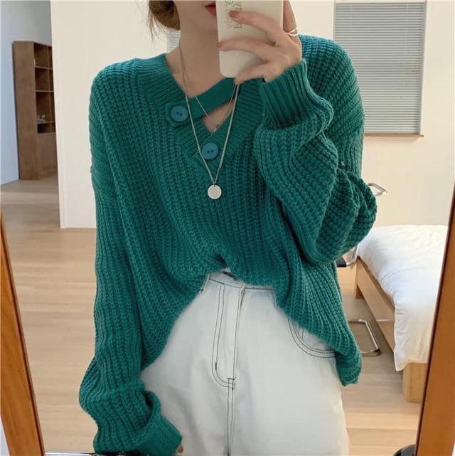 ➡️斜槓領寬鬆針織毛衣