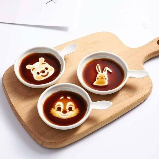 卡通療癒陶瓷醬油碟子(3個/1組)