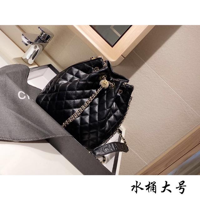 新款Chanel 香奈兒 金屬 鏈條水桶包抽繩包 斜挎包 25.25 禮盒包裝
