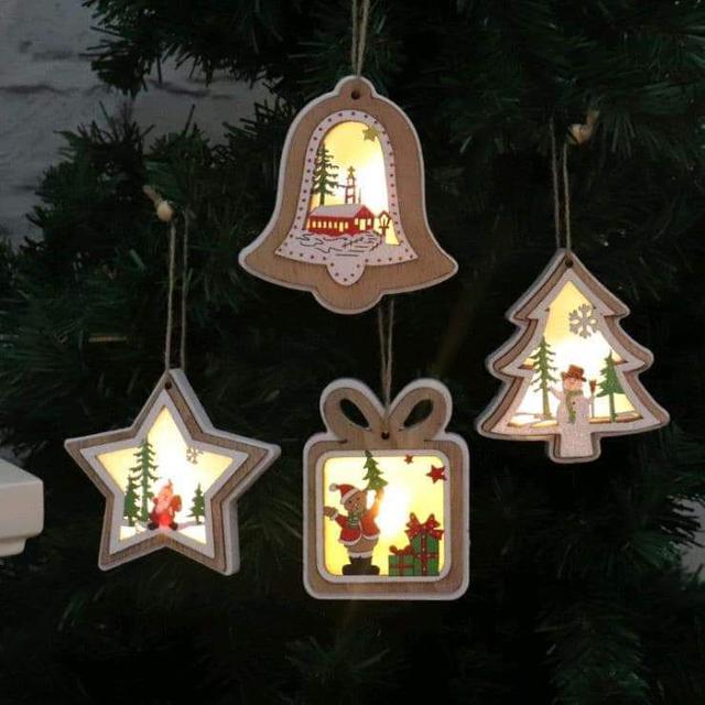 (預購S) 聖誕節木質發光溫暖掛件裝飾