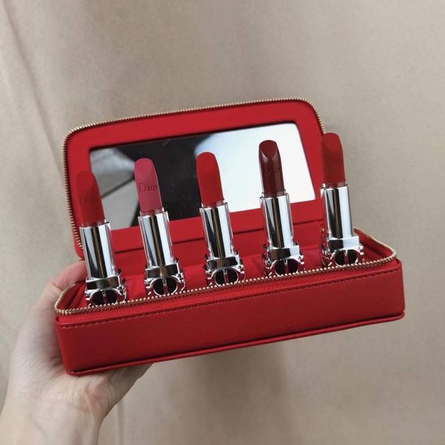 Dior迪奧5件套紅色皮包套 2021新年限定唇膏套裝