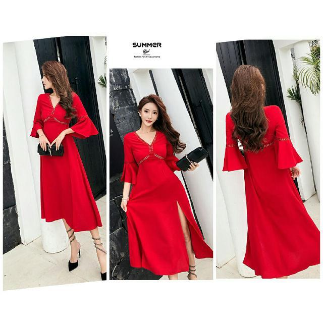 預購海邊度假紅色連衣裙