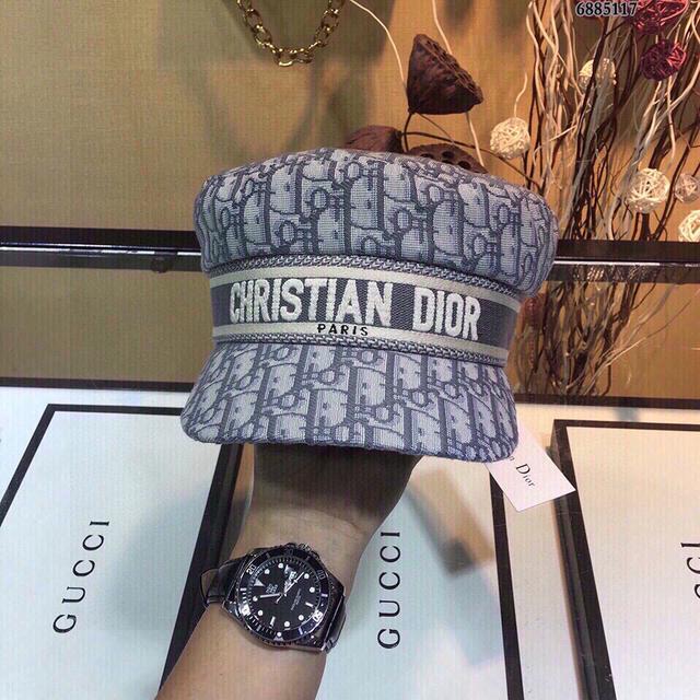 (週年慶特價)Dior迪奧20秋冬新款帽子老花字母logo報童帽軍帽